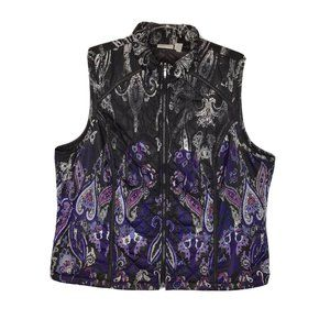 Zenergy By Chicos Full Zip Vest 3 XL Black Purple